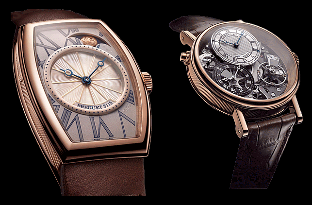 Two watches, the award-winning Héritage phases de lune rétrograde and Tradition GMT by Breguet.