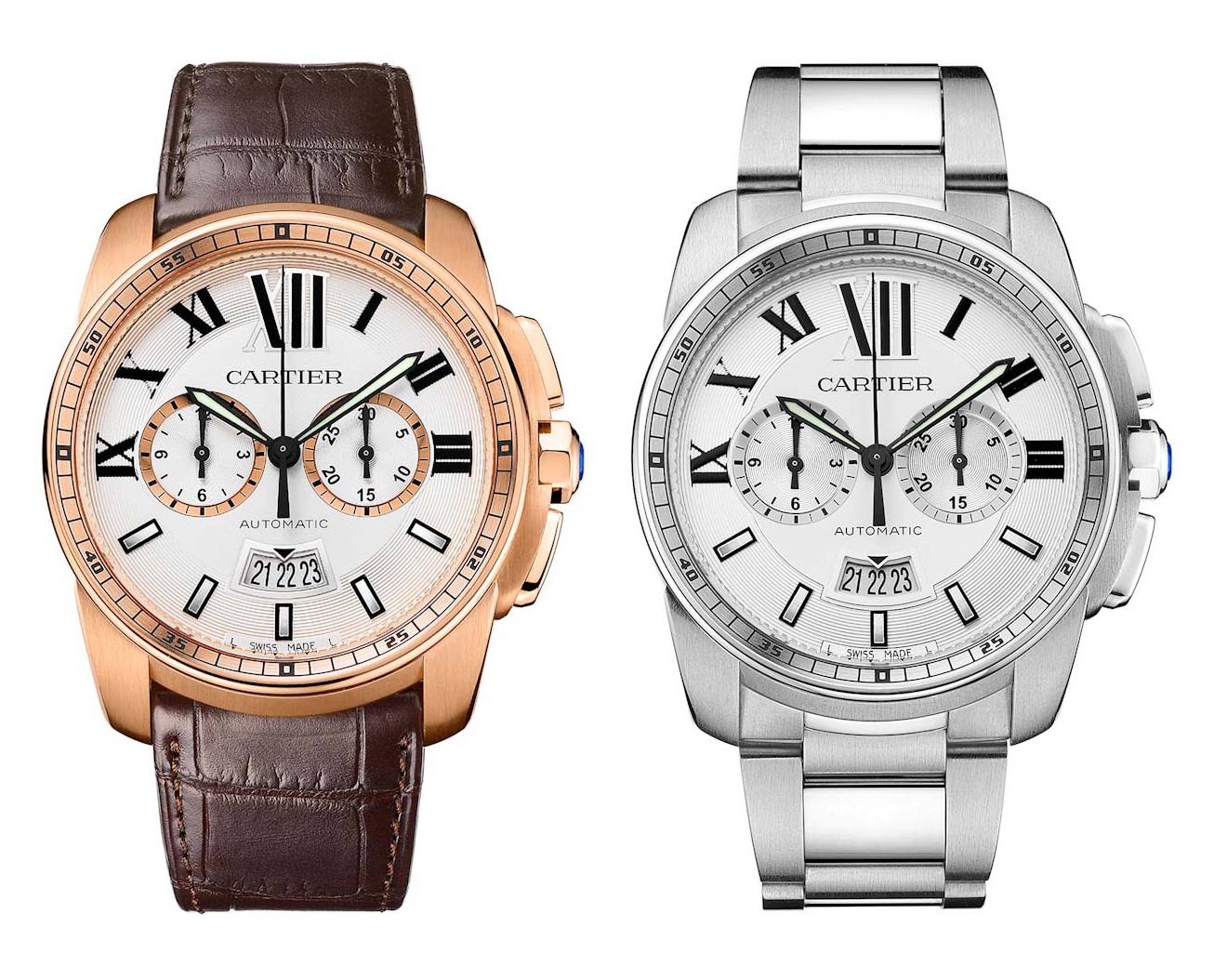 Two versions of the new Calibre chronograph.