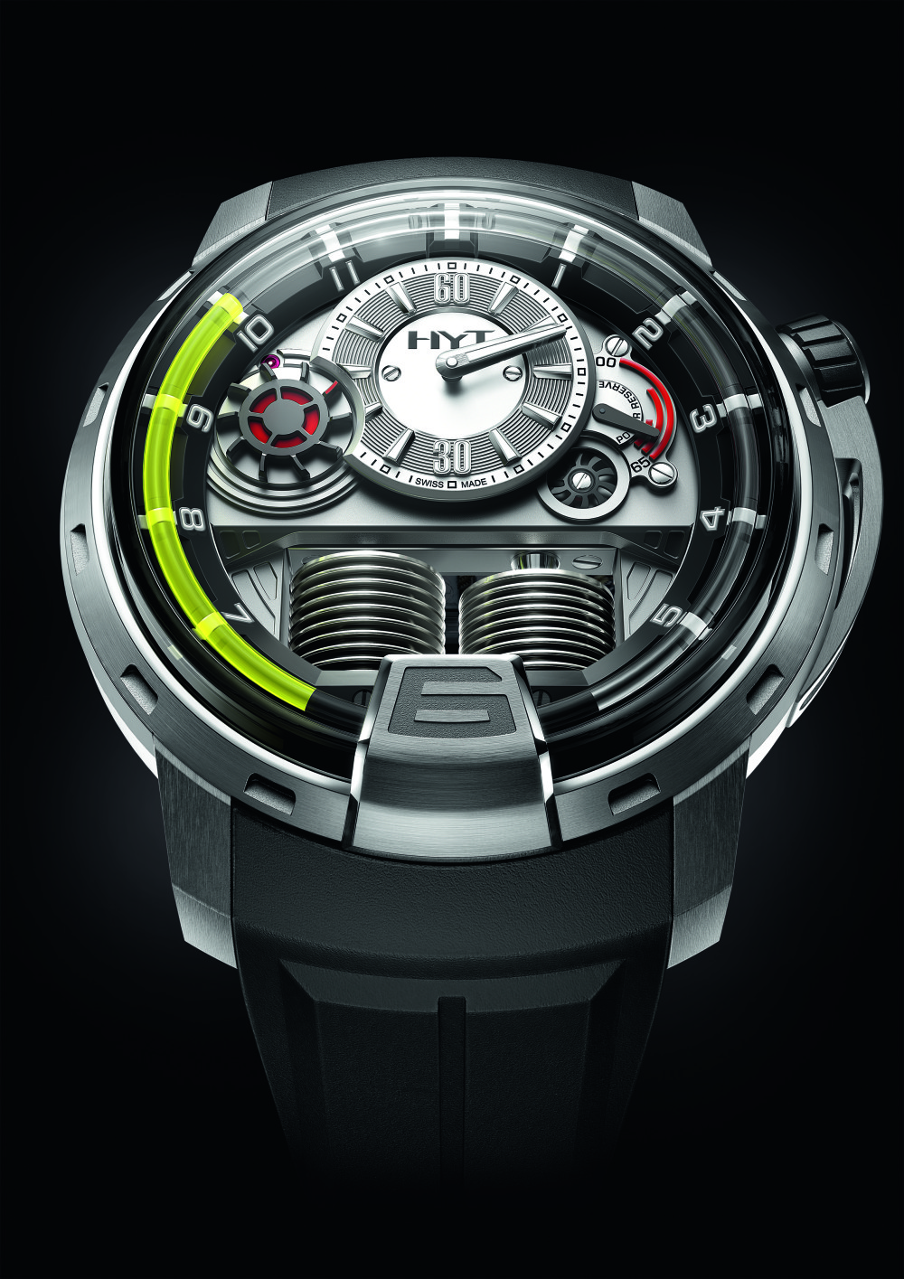 The H1 watch, which combines liquid mechanics with conventional clockwork for an innovative means of telling the time.